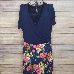 Modcloth 1X navy floral Gilli dress